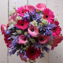 Pink and purple bouquet of flowers